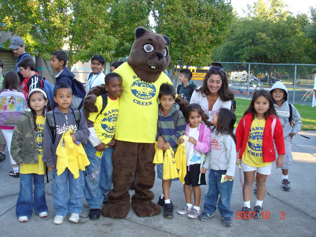 "Bucky the Beaver welcomes ""Traffic Tamers"" at Bannon Creek on Walk to School Day."