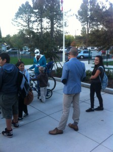 West Sacramento Mayor Christopher Cabaldon talks with students after participating in the walking school bus to Riverbank Elementary.