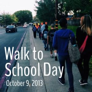 Students walk to Thomas Edison Language Institute in a walking school bus.